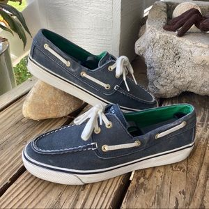 Sperry Biscayne Salt Wash Navy Boat Shoes
